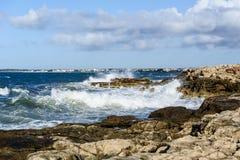Sea waves and rocky shore. Mallorca coast. Sea waves and rocks at daylight Royalty Free Stock Photography