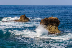 Sea waves rolling on stones Stock Photo