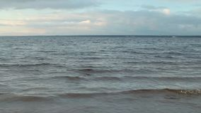 Seascape  waves run. Sea waves running on beach Gulf of Finland, seascape stock footage