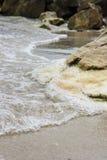 Sea waves on the sand beach. Sea waves on the golden sandy beach Stock Image