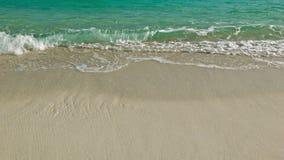 Sea waves on sand beach. Video 1080p - Sea waves on sand beach stock video