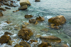 Sea, waves, sand and stones. Saving screen marine landscape. sea waves and stones Royalty Free Stock Images