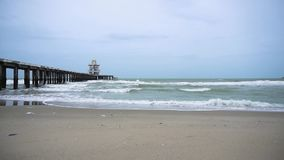 The sea waves. That see the bridge go out stock video