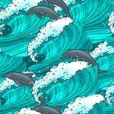 Sea waves seamless pattern stock illustration