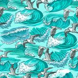 Sea waves seamless pattern Royalty Free Stock Image