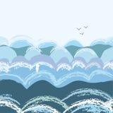 Sea waves seamless pattern,  graphic illustration Stock Photos