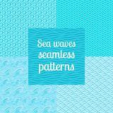 Sea waves seamless patterns set Royalty Free Stock Images