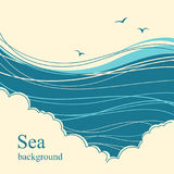 Sea waves.Seascape illustration horizon for text Stock Photo
