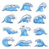Sea waves set, blue marine and ocean nature stock photo