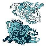 Sea waves set. Hand drawn  illustration. Design element Stock Photography