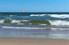 Ship, fishing, sea, waves, fishing, fish, mining, trailing, cruiser Stock Photography