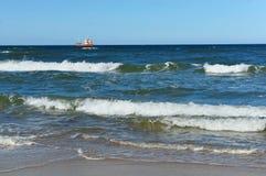 Ship, fishing, sea, waves, fishing, fish, mining, trailing, cruiser Royalty Free Stock Photos