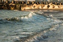 Sea waves at the shore stock photo