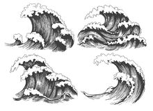Sea waves sketch set vector illustration