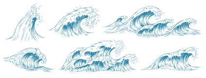 Sea waves sketch. Storm wave, vintage tide and ocean beach storms hand drawn vector illustration set. Sea waves sketch. Storm wave, vintage tide and ocean beach royalty free illustration