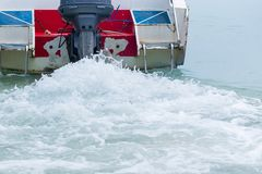 Sea waves from the speed boat. Stock Photos