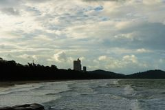 The sea waves  at rayong but it is beautiful. The sea waves strong at rayong but it is beautiful Stock Photography