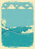 Sea waves in sun day. Vintage Stock Images