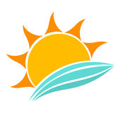 Sea waves and sun. Sun and sea waves icon. Vector illustration Stock Images
