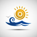 Sea waves and sun logo design template Stock Photo