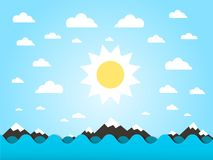 Sea Waves with Sun Vector Cartoon. Sea Waves with Sun Vector Flat Design Cartoon Stock Illustration