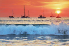 Sea waves at sunset Royalty Free Stock Photography