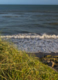 Sea waves at sunset atlantic beach. Sea waves at  sunset and green grass Royalty Free Stock Image