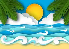 Sea waves and tropical beach in paper art style. Travel concept vector illustration. Summer vacation poster in paper cut design vector illustration