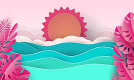 Sea waves and tropical beach in paper art style. Travel concept vector illustration. Summer vacation poster in paper cut. Sea waves and tropical pink leaves in stock illustration