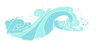Sea waves. Vector hand drawn illustration. Element for your design. Blue waves  on white background Stock Image