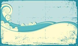 Sea waves. Vintage illustration of sea landscape Stock Photos