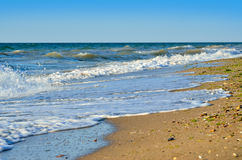 Sea waves wash the beach against a blue sky Stock Image