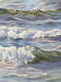 Sea waves watercolor. Sea view background. Blue sea or ocean transparent shallow water over pebble bottom of stony beach coast. Wave is incident on the beach Royalty Free Stock Image