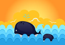 Sea waves with whale. Illustration of sea scape  sea waves with whale Royalty Free Stock Images
