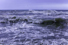 Sea waves winter. It`s seaside of Odessa. Black sea run high stock image