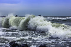 Sea waves winter. There is the seaside of Odessa. Black sea runs high royalty free stock photo