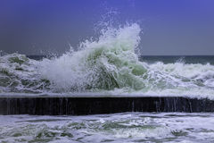 Sea waves winter. There is the seaside of Odessa. Black sea runs high royalty free stock photography