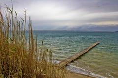 Sea waves wooden boardwolk in Sabunike Stock Image