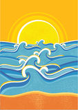 Sea waves and yellow sun vector illustration