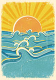Sea waves and yellow sun