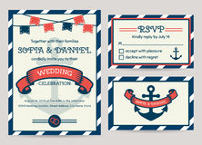 Sea Wedding Invitation. Vector Templates. Royalty Free Stock Images