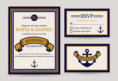 Sea wedding invitation. Vector templates. Royalty Free Stock Photo