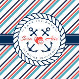 Sea wedding invitations. Sea wedding invitation card. Elegant template in nautical style with anchors, rope, hearts and striped background. Vector illustration stock illustration