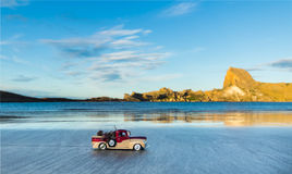 Sea Weed Truck. Model pickup truck carrting sea weed at Castlepoint Beach Stock Image