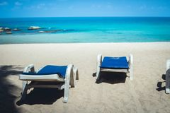 Sea White sand beach with blue sea Chaweng Beach, Koh Samui, Thailand Royalty Free Stock Photo