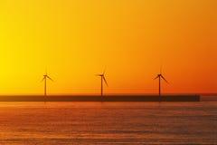Sea wind turbines Royalty Free Stock Photo