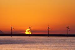 Sea wind turbines Stock Photos