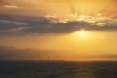Sea wind turbines Royalty Free Stock Image
