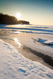 Sea in winter with couds Royalty Free Stock Photos