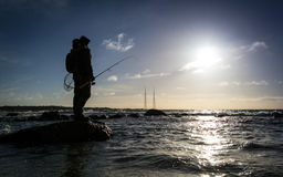 Sea winter fishing on Swedish coast Royalty Free Stock Images